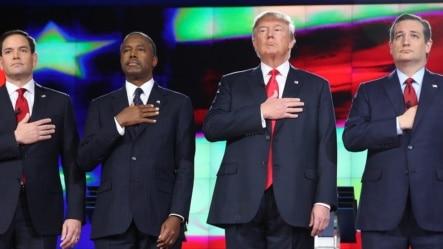 candidatos republicanos (i-d) Marco Rubio, Ben Carson, Donald Trump, Ted Cruz.
