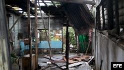 Aspecto de una vivienda afectada por el paso del huracán Sandy por Caimanera, Guantánamo (Cuba).