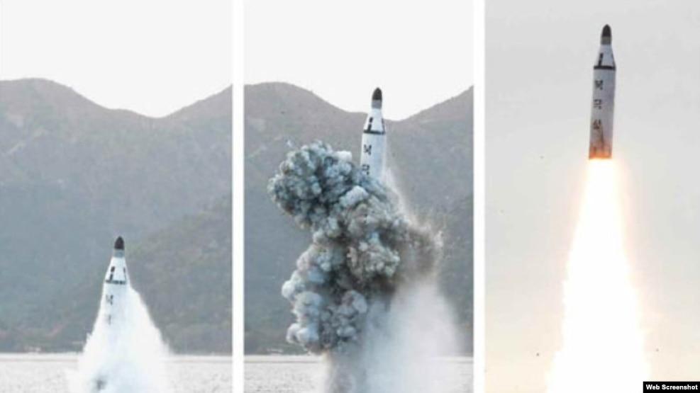 Fotos de archivo del lanzamiento de un misil submarino norcoreano.