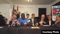 Líderes opositores cubanos realizan conferencia de prensa en Miami tras anuncio de Donald Trump (foto CubaNet)