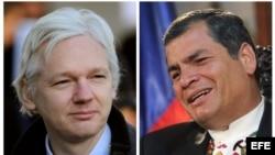A la izquierda el fundador de Wikileaks Julián Assange, a la derecha el presidente de Ecuador Rafael Correa