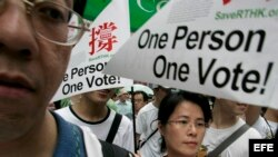 Archivo - Manifestantes toman las calles de Hong Kong, China. 2007.