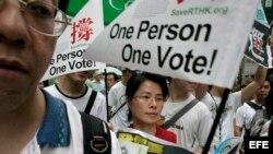 Archivo - Manifestantes toman las calles de Hong Kong, China.