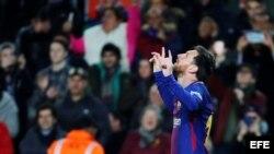 Messi celebra su gol ante el Celta de Vigo.