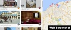 Página de Airbnb mostrando sus alojamientos en Cuba.