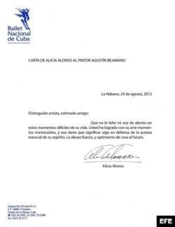 Carta de Alicia Alonso, al pintor Agustín Bejarano