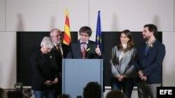 El ex presidente del Parlamento catalán, Carles Puigdemont valora resultado de las elecciones desde Bruselas, Bélgica