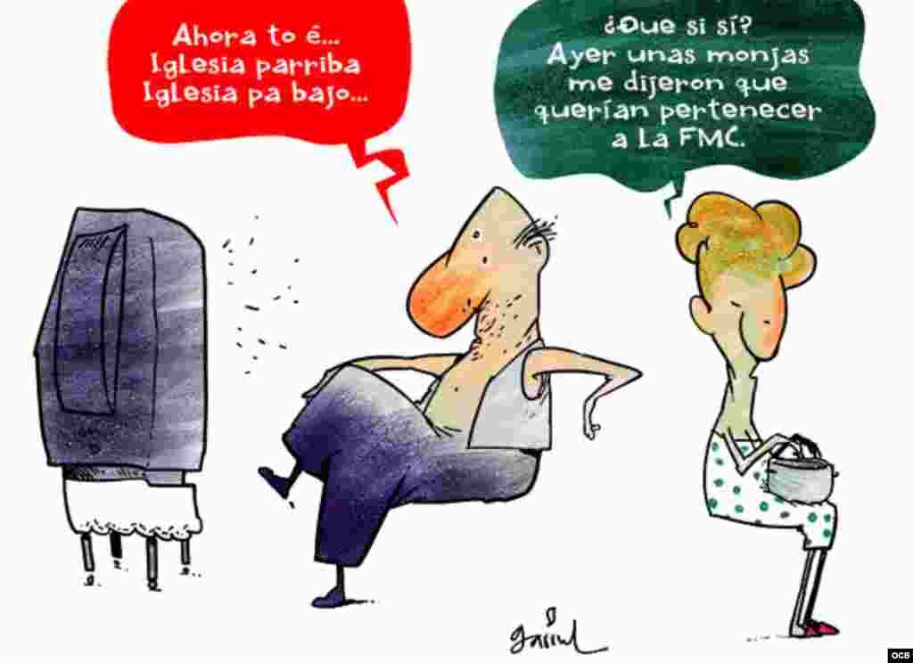 Garrincha's cartoon about Catholic church in Cuba