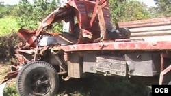 Uno de los dos camiones involucrados en el accidente