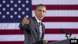 El presidente de EEUU, Barack Obama, durante la presentación de su proyecto presupuestario del 2016, en el Departamento de Seguridad Nacional, en Washington DC (2 de febrero, 2015).