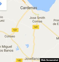 Localización geográfica de Carlos Rojas, entre Jovellanos y Cárdenas