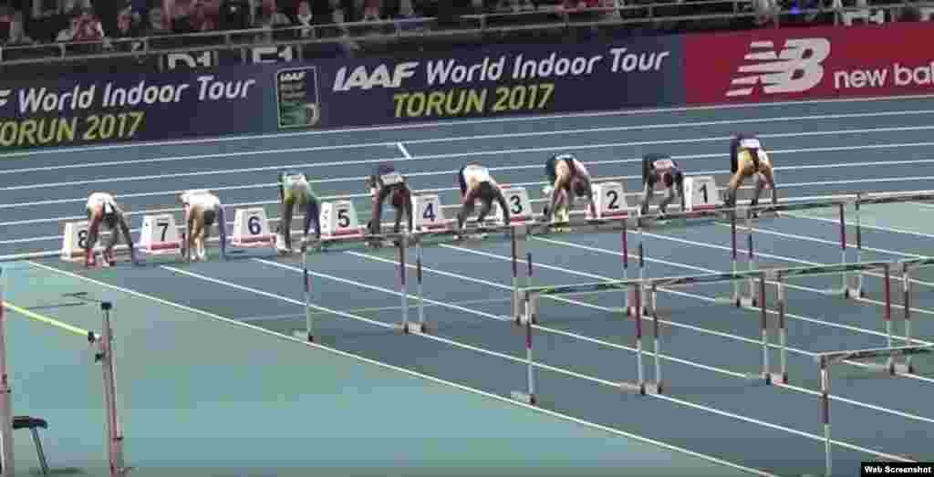 Orlando Ortega salió del carril número 5 y ganó en los 60 metros vallas de la reunión de atletismo en pista cubierta de Torun (Polonia), el viernes, 10 de febrero, con un tiempo de 7 segundos y 48 centésimas, que es un nuevo récord de España.