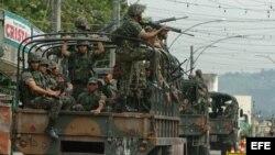 Miembros del Ejército brasileño.