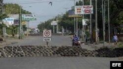 Barricada en Managua durante el paro