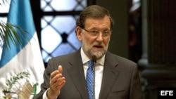 El presidente del gobierno español, Mariano Rajoy durante la conferencia de prensa en Guatemala