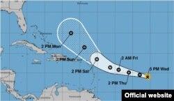 Trayectoria pronosticada para el huracán José. (NHC)