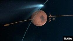 """Esta concepción artística muestra los orbitadores de Marte de la Nasa que se alinean detrás del planeta rojo para su """"Duck and Cover"""" maniobra para proteger del polvo del cometa."""
