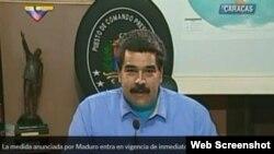 El presidente de Venezuela, Nicolás Madura, anuncia el estado de excepción en el Táchira, desde el Palacio de Miraflores.