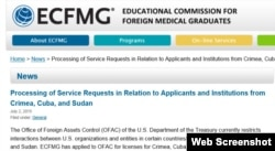La Tesorería de EE.UU. no está dando licencias al organismo encargado para someter a exámenes de reválida a médicos cubanos.