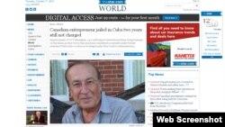 Cy Tokmakjan, de 73 años, está encarcelado en Cuba desde septiembre de 2011.