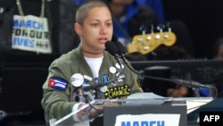 """Emma Gonzalez en su discurso en la protesta """"Marcha por nuestras vidas"""" el 24 de marzo de 2018."""