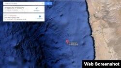 Área del epicentro del terremoto frente a la Costa de Chile (Google Maps).