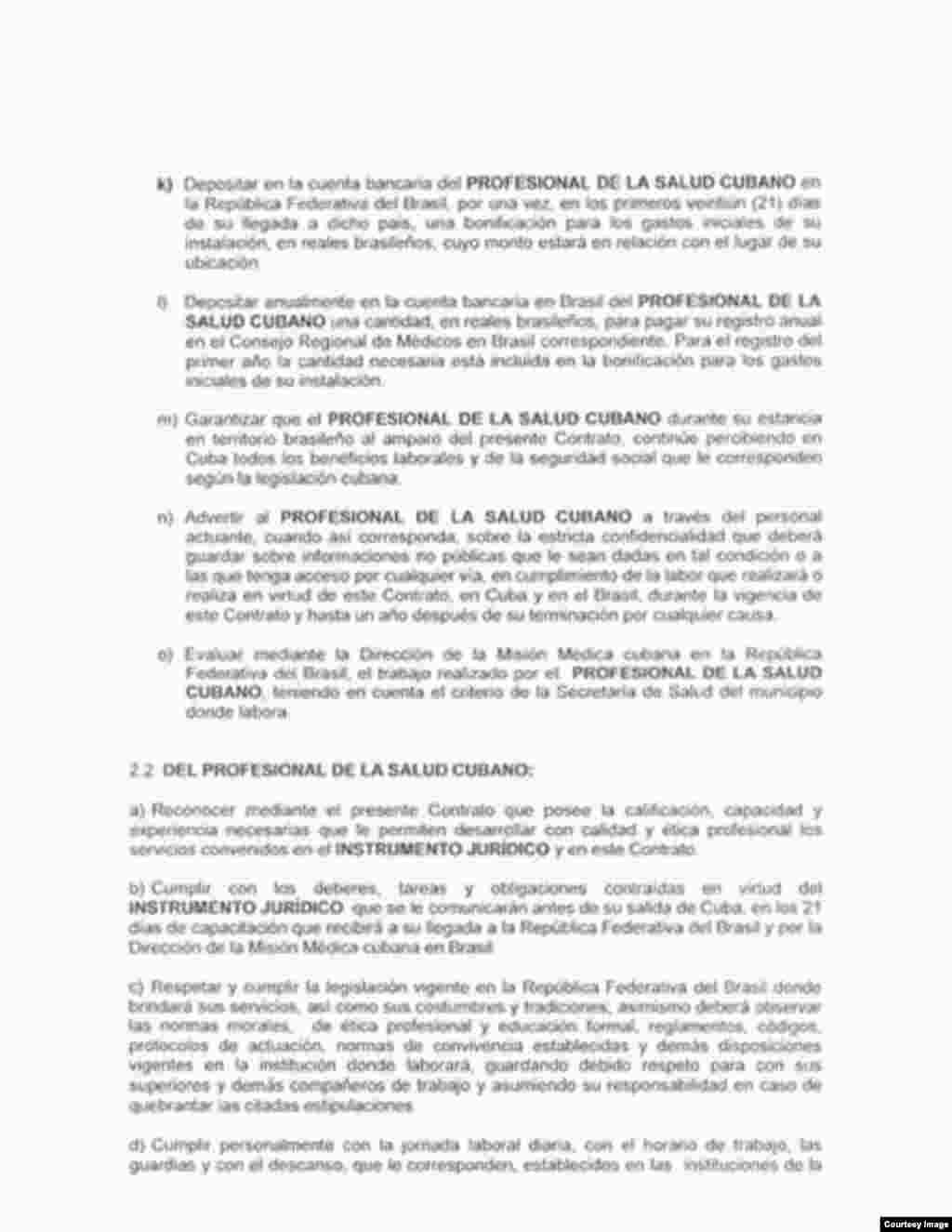 Copia de contrato de médica cubana en Brasil, tercera página.