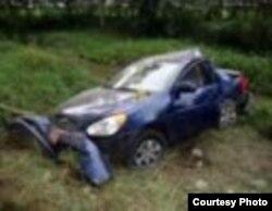 Así quedó el auto en el que perdieran la vida Oswaldo Payá y Harold Cepeda.
