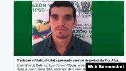 medios de prensa enColombia divulgan la foto del presunto asesino de reportera colombiana.