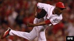 El lanzador zurdo de los Rojos de Cincinnati, Aroldis Chapman.