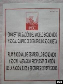 Portada del folleto que recoge los dos documentos aprobados por el VII Congreso del PCC.