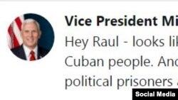 Twitter de Mike Pence, vicepresidente de EEUU.