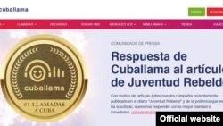 Captura de imagen de la portada este lunes del sitio en internet de Cuballama.