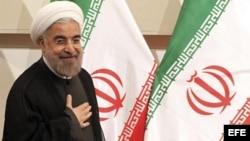 El presidente electo iraní, el clérigo Hassan Rouhani, luego de una rueda de prensa en Teherán.