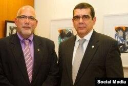El presidente del INDER y el embajador cubano en EEUU.