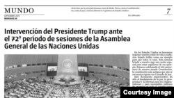 El discurso de Trump en la edición impresa de Granma.