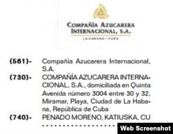 Penado Moreno aparece listada como empleada de CAISA por la Oficina de la Propiedad Industrial.