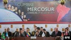 El presidente venezolano, Nicolás Maduro en la cumbre del Mercosur en Caracas (Venezuela).