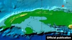 Mapa del Centro Nacional de Investigaciones Sismológicas de Cuba.