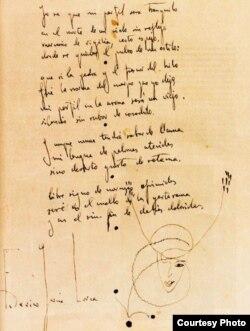Manuscrito de un soneto de Federico García Lorca.