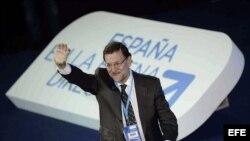 El presidente del gobierno español, Mariano Rajoy, en la Convención Nacional del PP