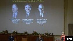 Una pantalla muestra las fotografías de los científicos estadounidenses (de izda a dcha) Randy W. Schekman y James E. Rothman así como la del alemán Thomas C. Südhof mientras se anuncian sus nombres como ganadores del Nobel de Medicina 2013.