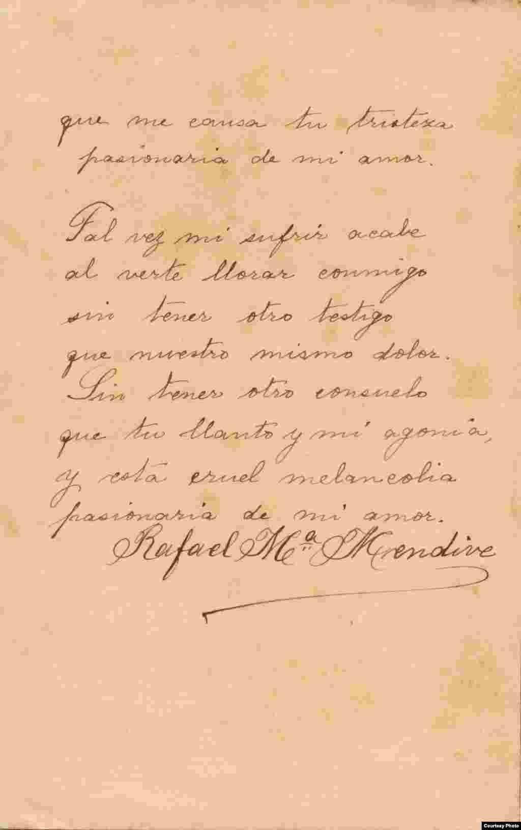 Manuscrito de poema de Mendive (segunda página). Cortesía de Orlando González Esteva