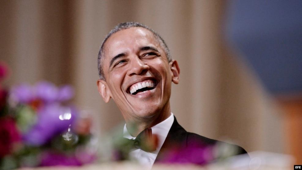 Obama durante la cena con los corresponsales de la Casa Blanca.