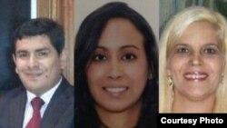 Las dos cubanas víctimas del crimen, y el abogado peruano, Salas, objetivo real del exmilitar norteamericano.