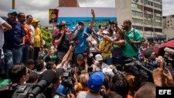 El líder opositor Henrique Capriles, durante una marcha exigiendo el referendo revocatorio