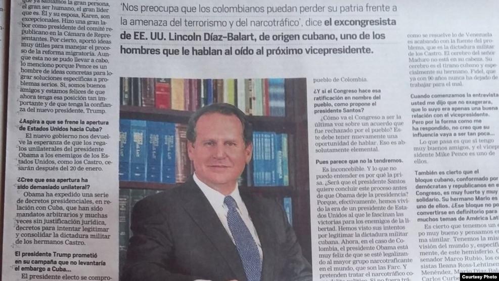 Lincoln Díaz-Balart entrevistado por El Tiempo de Colombia.