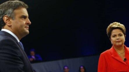 Aecio Neves (i) y Dilma Rousseff durante su último debate antes de la segunda vuelta electoral, el domingo 26.