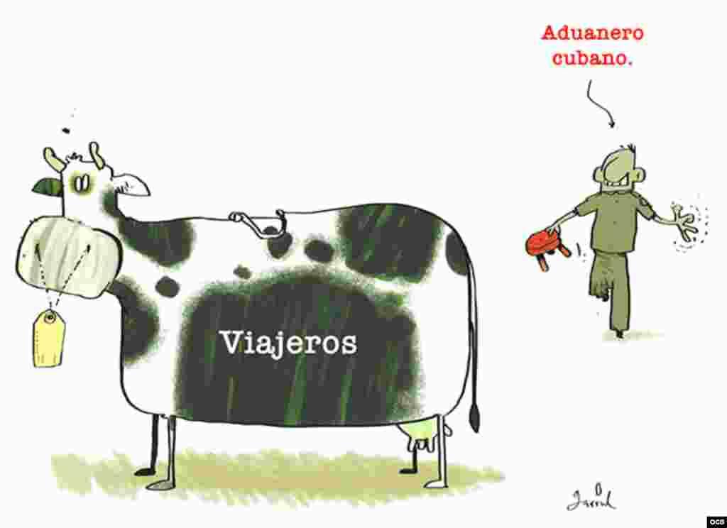 Caricatura Aduana en Cuba
