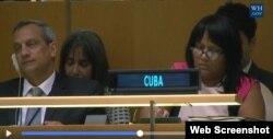Delegación cubana en la ONU presente en el plenario durante el discurso de Trump